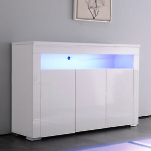 Image Is Loading High Gloss White Sideboard Cupboard Cabinet Buffet Unit