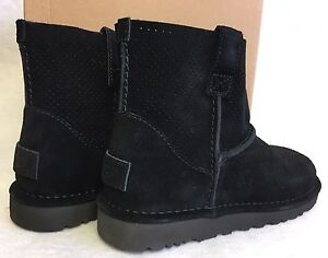 c4521077af6 Details about UGG Australia Unlined Classic Mini Perf Suede Boots 1016852  Black Womens Spring