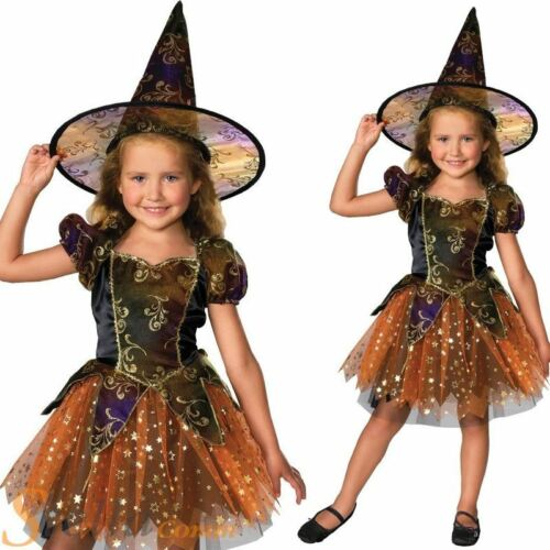 Chicas elegante Bruja Halloween Horror Fancy Dress Costume Niño Traje Y Sombrero