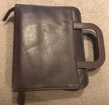 Franklin Cordovan Leather Retractable Handle 7 Ring Classic Zip Binderplanner