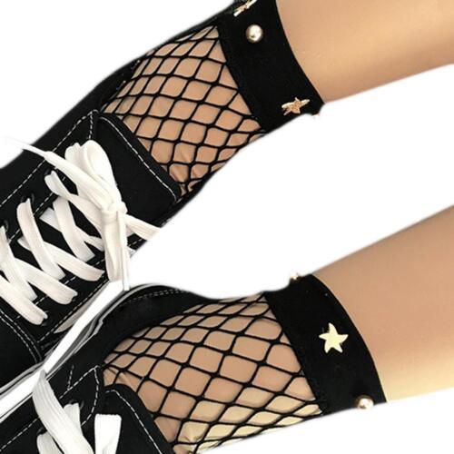 White Fishnet Ankle High Sock Lady Mesh Lace Fish Net Short Sock-Women^
