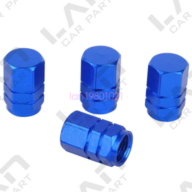 4 Pcs Compact Aluminum Car Truck Motocycle Bike Tire Tyre Wheel Rims Air Valve Stem Caps Cover Tyres Accessories-Blue
