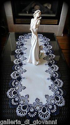 "Delicate Trim BLUEBERRY BLUE Lace Table Runner Doily  53""  Estate Design"