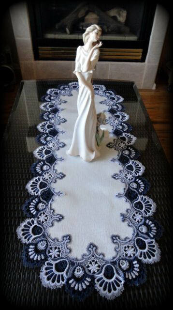 "Delicate Trim BLUEBERRY BLUE Lace Table Runner Doily  43""  Estate Design"