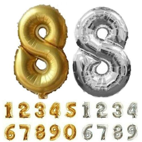 32inch Number 0-9 Foil Balloon Crown Digit Air Ballon Birthday Party Decorations