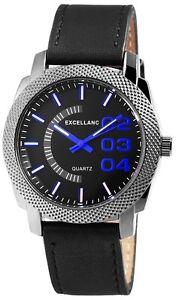 Herrenuhr-Schwarz-Blau-Titan-Look-Analog-Leder-Armbanduhr-D-100000300612600
