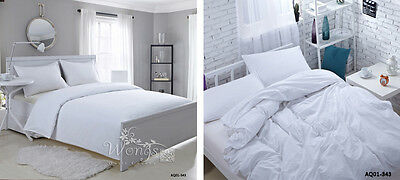 Solid New 100% Cotton Quilt/Doona Covers Set King/Queen/Double Size Bed Linen