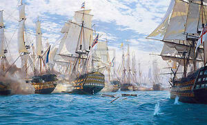 Seascape-huge-Oil-painting-Turner-The-Battle-of-Trafalgar-amp-huge-sail-boats-36-034