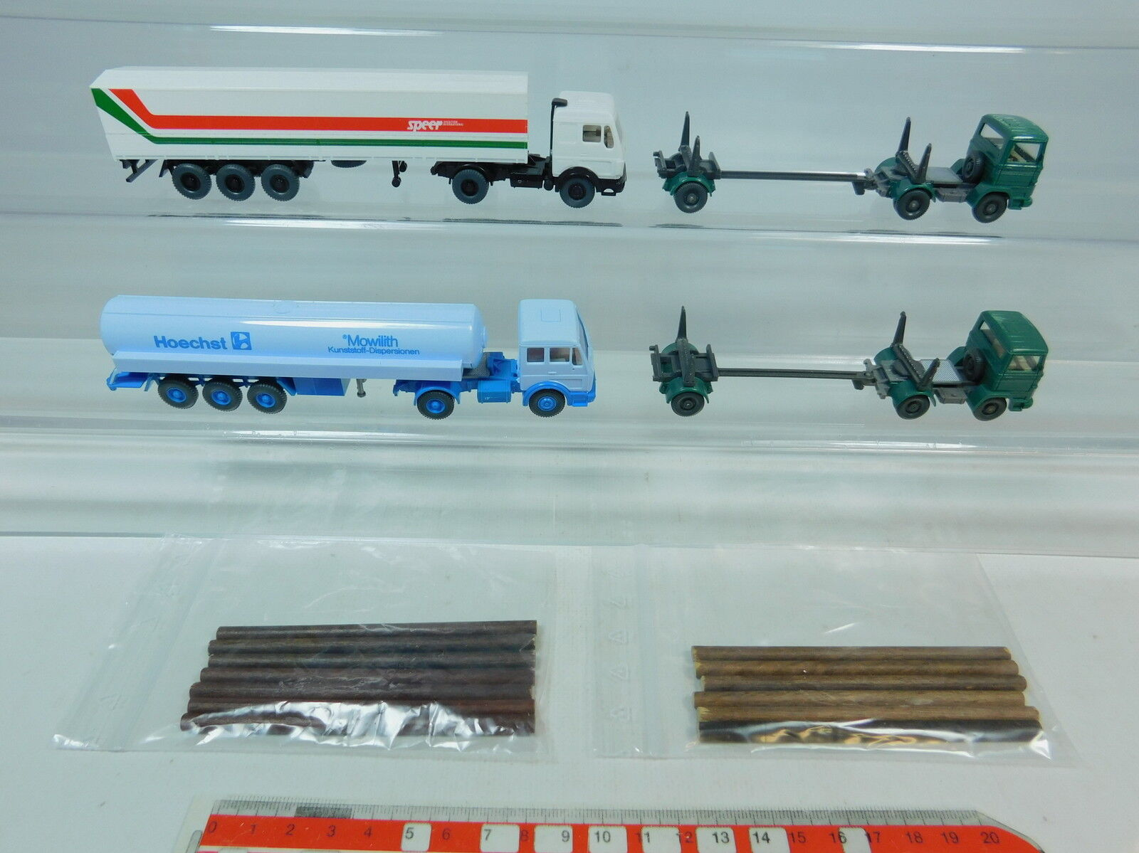 Au974-0, 5  4x wiking h0 Camion Mercedes-Benz MB  Hoechst mowilith  lance etc, s.g.