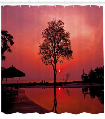 Sunrise Shower Curtain Twilight Sky with Tree Print for Bathroom 70 Inches Long