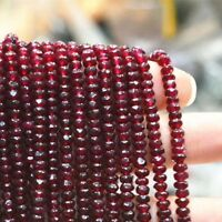 """2x4mm Natural red Garnet Faceted Indian Beads 15"""" JL54"""