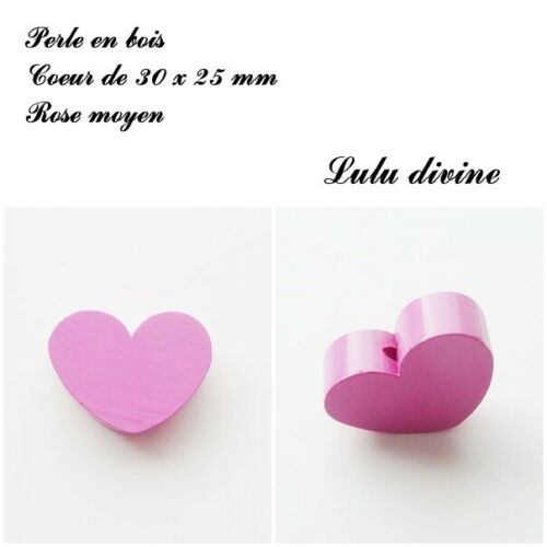 Perle en bois de 30 x 25 mm Rose moyen Perle plate Coeur