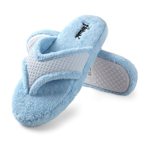Aerusi Women Winter Soft Plush Thong Spa Slippers Indoor House Anti-Slip Shoes