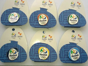 RIO OLYMPIC GAMES 2016 SET OF 6 PIN BADGES ON BACKING CARDS LONDON 2012