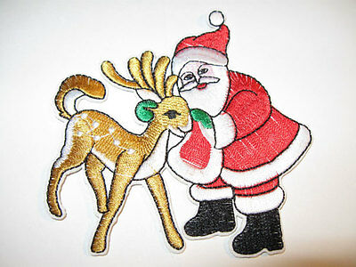BEAUTIFUL IRON ON CHRISTMAS SANTA AND REINDEER APPLIQUE 2839-J