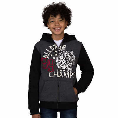 Large, Charcoal Heather Lee Youth Boys Sherpa Lined Hoodie Jacket