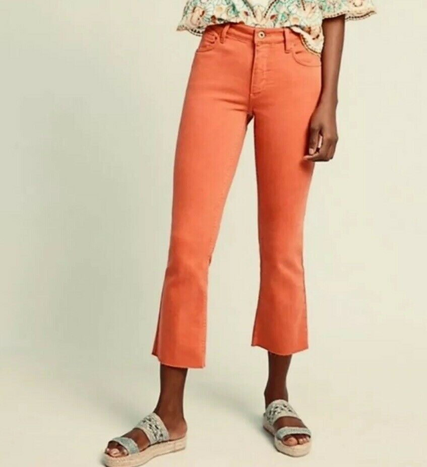 NWT Pilcro High Rise Bootcut Jeans Size 31 orange Raw Hem Crop