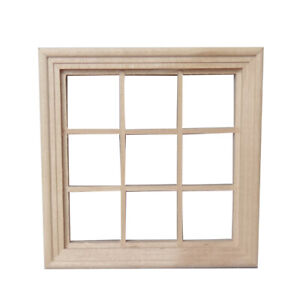 NE-AB-9-Pane-Square-Wooden-Window-Model-Miniature-Room-Accessory-DIY-Doll-Hous
