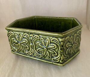Vintage MidCentury Moss Green Art Pottery Planter Dish - Unsigned Brush-McCoy
