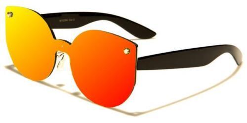 Designer Sonnenbrille Flach Linse Spiegel Cat Eye Rahmenlosen Groß Damen Mädchen