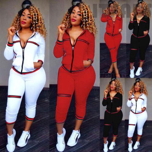 Women/'s Tracksuit Zip Crop Sweatshirt Pants Trousers Sports Wear Casual 2pc