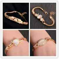 Exquisite Opal 18k Gold Filled shiny Austrian crystal lady's bracelet