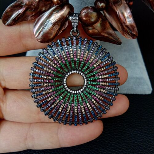 """20/"""" 3 brins Brown Shell collier de perles cz Pace Pendentif"""