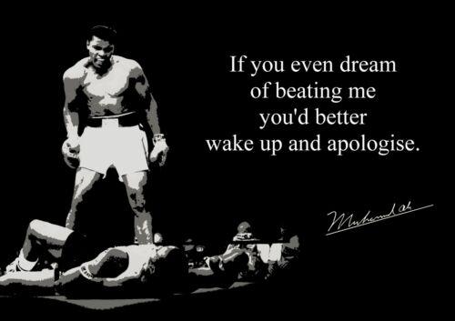 Inspirational Muhammad Ali 3 Black White Motivation Quote Poster Sport Boxing