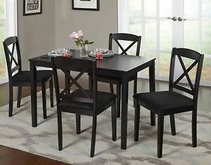 Farmhouse Dining Table Set Small Wooden Black Kitchen Dinette 5
