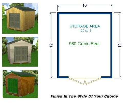 10x12 Storage Shed Plans Package Blueprints Material List /& Instructions