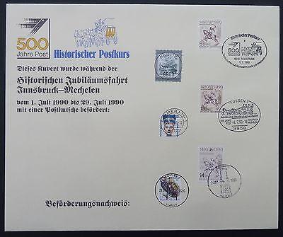 Trendmarkierung Brd 500 Jahre Post 1990 Brief Postkutschenfahrt Mit Zertifikat !! Rar !! S117 Durchsichtig In Sicht