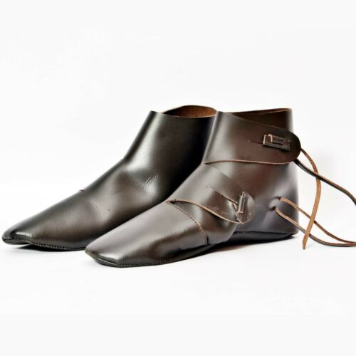 Medieval Leather Shoes Costume Boots for Men Leather Ankle Shoes UK SIZE 8