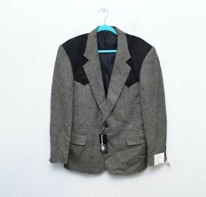 Panhandle-Slim-Blazer-40R-Tweed-Western-Yoke-Mens-Jacket-New-Gray-Black