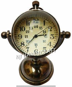 Brass-Antique-Desk-Clock-Nautical-Clocks-Watch-With-Back-Side-Compass-design