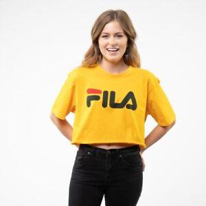 FILA Womens Gold Cropped Crop Top Tee