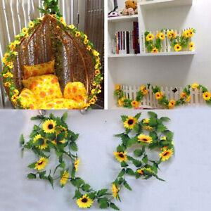 Home-Artificial-Yellow-Sunflower-Garland-Vine-Wedding-Floral-DIY-Party-Decor