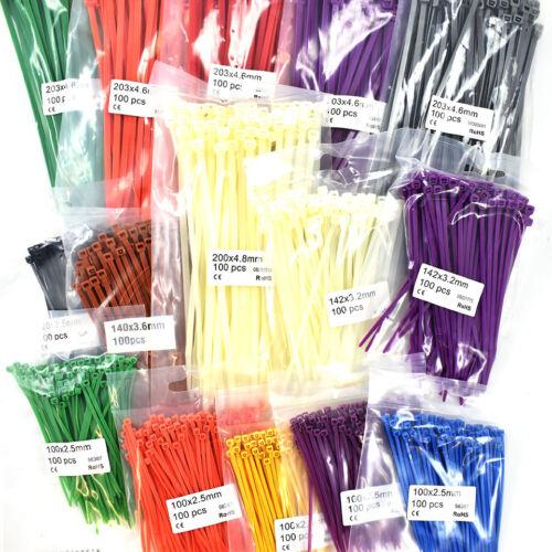1500 piezas Surtido Bridas Kit-amarra Envolturas Varios Tamaños y Colores