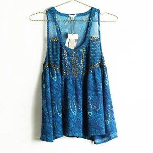 NEW-Urban-Outfitters-Ecote-Blue-Boho-Flowy-Printed-Tank-Top-Size-M