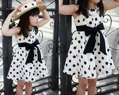 Girl Summer Princess Polka Dot Dress Kids Baby Party Wedding Sundress Dresses