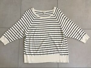 Joie-Cashmere-Wool-Nylon-Blend-Wide-Neck-Striped-Sweater-M-Elbow-Sleeves