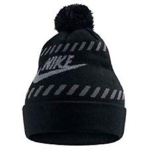 e5c4c39697a Image is loading Ski-Beanie-Nike-Futura-Pom-Black-Cool-Grey-