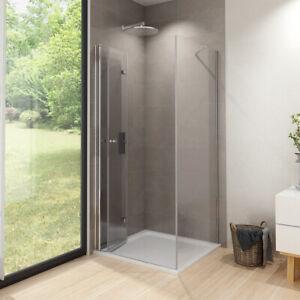 Details zu Duschkabine 80x80 120x90 100x90 Dusche Falttür mit Seitenwand  Duschwand ESG Glas
