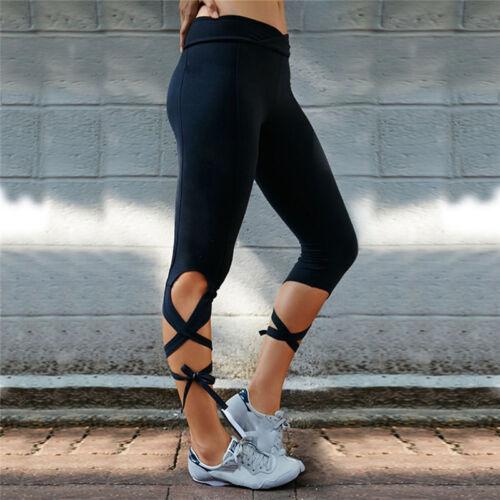 US Women Cropped Yoga Pants Sports Running Fitness Gym Tie Wrap Winding Legging