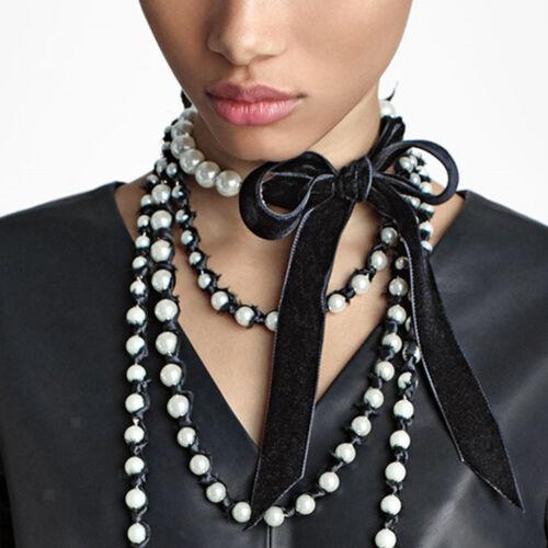 Wedding Bridal Faux Pearl Bowknot Charm Collar Bib Statement Choker Necklace