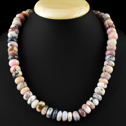 562.85 CTS NATURAL HAND MADE STRAND PINK AUSTRALIAN OPAL ROUND BEADS NECKLACE