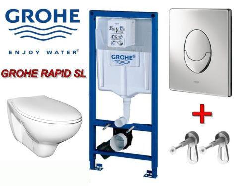 Grohe Dissimulé Citerne WC mur Ensemble complet d'activation Blanc Chrome Mat
