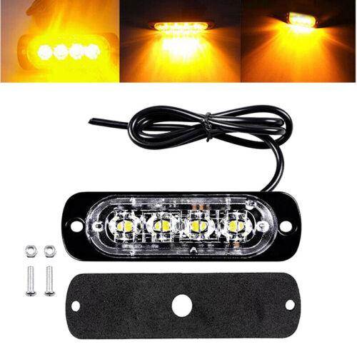 1X Yellow 4 LED Car Truck Urgent Beacon Warning Flash Strobe Light Lamp DC12-24V