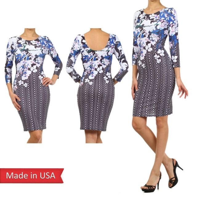 Women Sexy Women Color Floral Flower Print Blue Iris Fitted Bodycon Dress USA