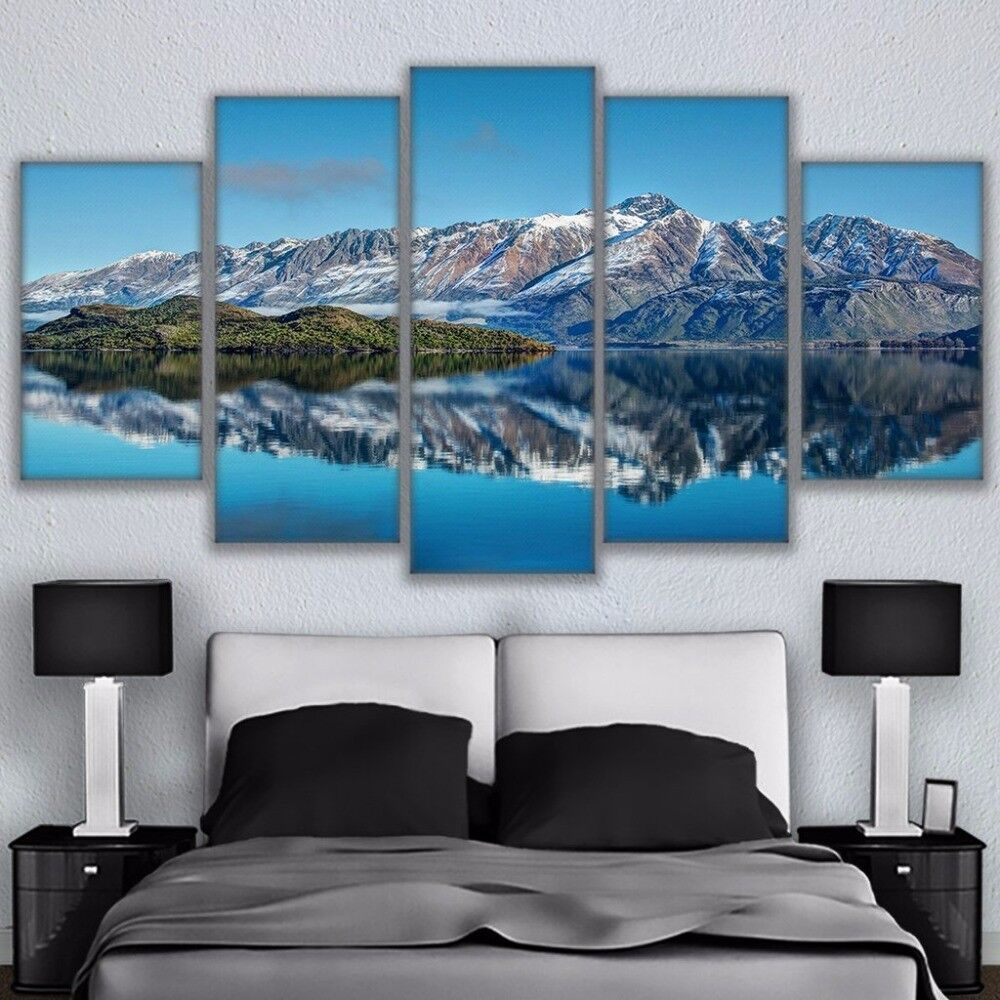 Queenstown Mountains New Zealand Painting 5 Panel Canvas Print Wall Art Poster