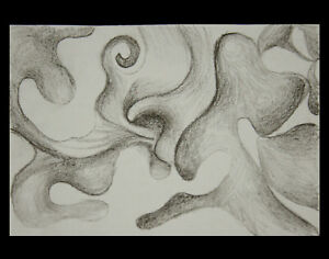 ACEO Original Pencil Abstract Drawing Signed and Dated by Artist - ref0254